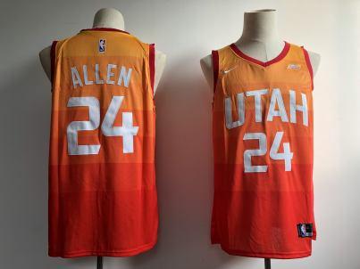 Men's  Utah Jazz #24 Grayson Allen Orange 2018-19 Swingman Basketball New City Edition Jersey