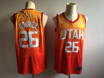 Men's  Utah Jazz #26 Kyle Korver Orange 2018-19 Swingman Basketball New City Edition Jersey
