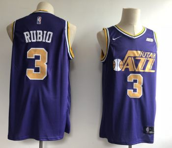Men's  Utah Jazz #3 Ricky Rubio Purple Basketball Swingman Jersey