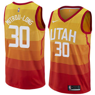 Men's  Utah Jazz #30 Naz Mitrou-long Orange 2018-19 Swingman Basketball New City Edition Jersey