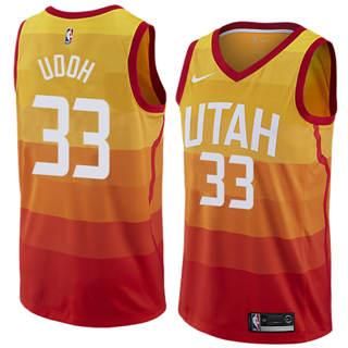 Men's  Utah Jazz #33 Ekpe Udoh Orange 2018-19 Swingman Basketball New City Edition Jersey