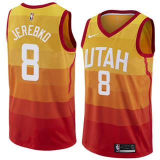 Men's  Utah Jazz #8 Jonas Jerebko Orange 2018-19 Swingman Basketball New City Edition Jersey