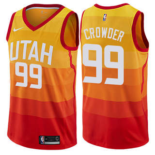 Men's  Utah Jazz #99 Jae Crowder Orange 2018-19 Swingman Basketball New City Edition Jersey