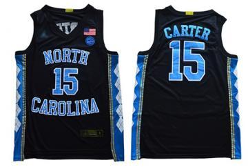 Men's North Carolina #15 Vince Carter Black Stitched College Basketball Jersey