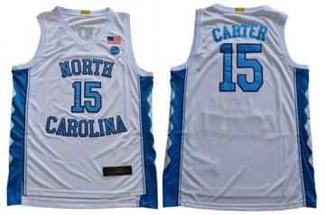 Men's North Carolina #15 Vince Carter White Stitched College Basketball Jersey