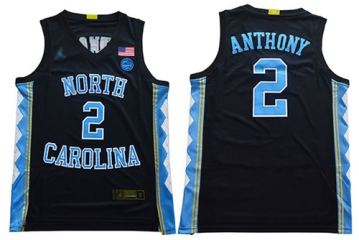 Men's North Carolina #2 Cole Anthony Black Stitched College Basketball Jersey