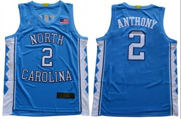 Men's North Carolina #2 Cole Anthony Blue Stitched College Basketball Jersey