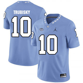 Men's North Carolina Tar Heels #10 Mitchell Trubisky Blue College Football Jersey