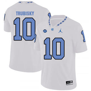 Men's North Carolina Tar Heels #10 Mitchell Trubisky White College Football Jersey