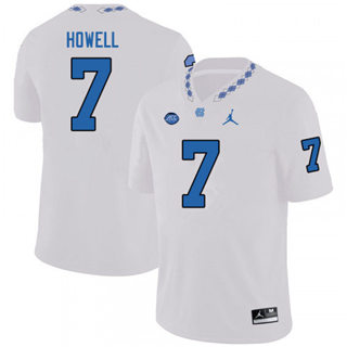 Men's North Carolina Tar Heels #7 Sam Howell White NCAA 2019-2020 Jersey