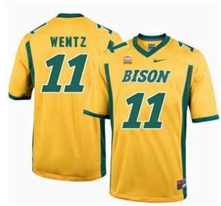 Men's North Dakota State Bison #11 Carson Wentz Gold College Football Jersey