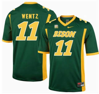 Men's North Dakota State Bison #11 Carson Wentz Green College Football Jersey