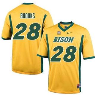 Men's North Dakota State Bison #28 Ty Brooks Gold College Football Jersey