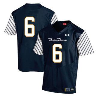 Men's Notre Dame Fighting Irish #6 Tony Jones Jr. NCAA Jersey Navy