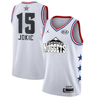 Men's Nuggets #15 Nikola Jokic White Basketball Jordan Swingman 2019 All-Star Game Jersey