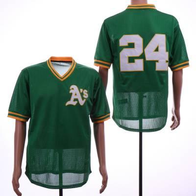 Men's Oakland Athletics 24 Rickey Henderson Green BP Mesh Jersey