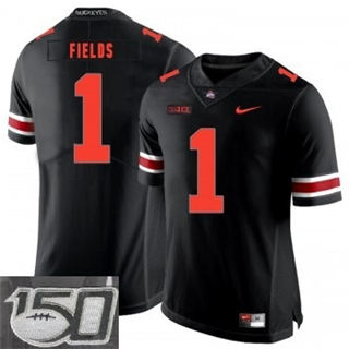 Men's Ohio State Buckeyes #1 Justin Fields Black Red 150th Patch NCAA Jersey