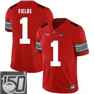 Men's Ohio State Buckeyes #1 Justin Fields Red Sewn NCAA 19-20 150th Patch Jersey