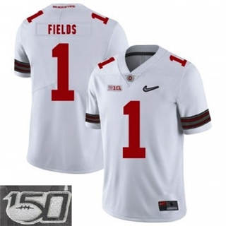Men's Ohio State Buckeyes #1 Justin Fields White 150th Patch NCAA Jersey