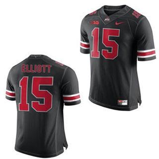 Men's Ohio State Buckeyes #15 Ezekiel Elliot Black Red NCAA Football Jersey
