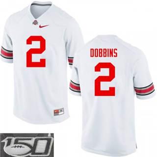 Men's Ohio State Buckeyes #2 J.K. Dobbins White 150th Patch NCAA Jersey