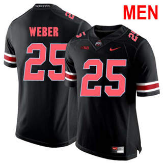 Men's Ohio State Buckeyes #25 Mike Weber Black Red NCAA Football Jersey
