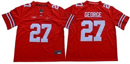 Men's Ohio State Buckeyes #27 Eddie George Red Stitched College Football Jersey