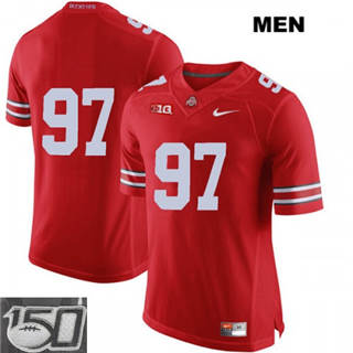 Men's Ohio State Buckeyes #97 Nick Bosa Red No Name 150th Patch NCAA Jersey