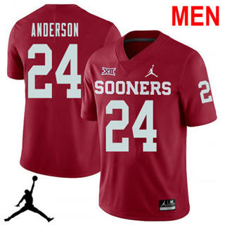 Men's Oklahoma Sooners #24 Rodney Anderson Red NCAA Football Jersey