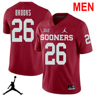 Men's Oklahoma Sooners #26 Kennedy Brooks Red NCAA Football Jersey