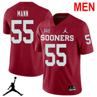 Men's Oklahoma Sooners #55 Kenneth Mann Red 2019NCAA Football Jersey