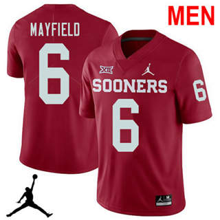 Men's Oklahoma Sooners #6 Baker Mayfield Red 2019 NCAA Football Jersey