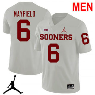 Men's Oklahoma Sooners #6 Baker Mayfield White 2019 NCAA Football Jersey