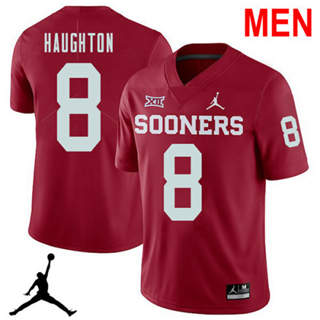 Men's Oklahoma Sooners #8 Kahlil Haughton Red NCAA Football Jersey