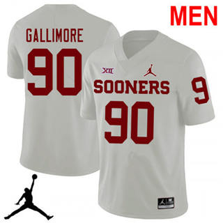 Men's Oklahoma Sooners #90 Neville Gallimore White NCAA Football Jersey