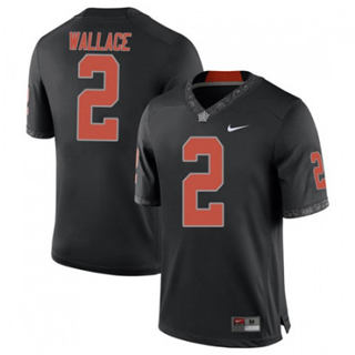 Men's Oklahoma State Cowboys #2 Tylan Wallace Black 2019 College Football Jersey