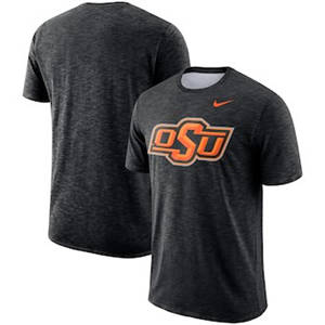Men's Oklahoma State Cowboys  Sideline Performance Cotton Slub T-Shirt - Black