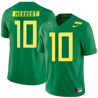Men's Oregon Ducks #10 Justin Herbert NCAA Football Jersey Apple Green