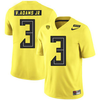 Men's Oregon Ducks #3 Vernon Adams Jr NCAA Football Jersey Yellow