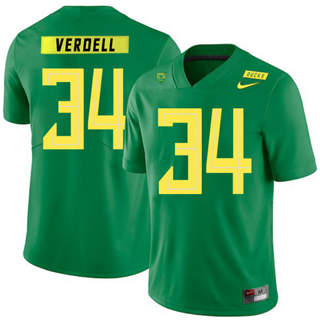 Men's Oregon Ducks #34 CJ Verdell NCAA Football Jersey Apple Green