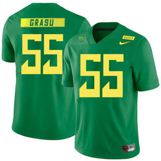 Men's Oregon Ducks #55 Hroniss Grasu NCAA Football Jersey Apple Green