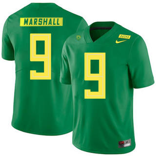 Men's Oregon Ducks #9 Byron Marshall NCAA Football Jersey Apple Green