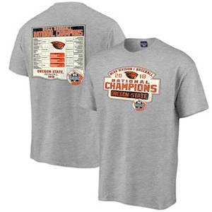 Men's Oregon State Beavers Blue 84 2018 NCAA Men's Baseball College World Series National Champions Bracket T-Shirt – Gray