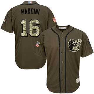Men's Orioles #16 Trey Mancini Green Salute to Service Stitched Baseball Jersey