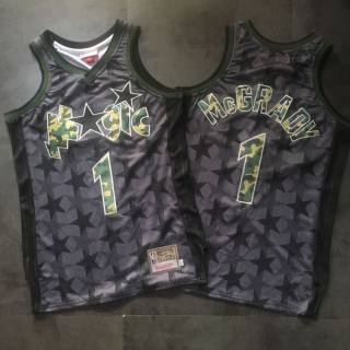 Men's Orlando Magic #1 Tracy McGrady Black Camo Basketball Hardwood Classics Jersey