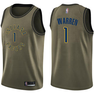 Men's Pacers #1 T.J. Warren Green Basketball Swingman Salute to Service Jersey