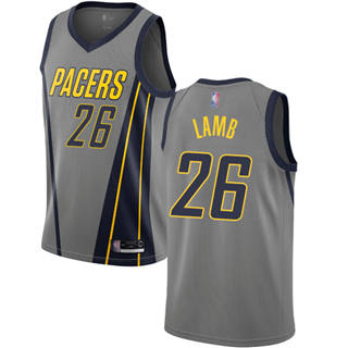 Men's Pacers #26 Jeremy Lamb Gray Basketball Swingman City Edition 2018-19 Jersey
