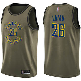 Men's Pacers #26 Jeremy Lamb Green Basketball Swingman Salute to Service Jersey