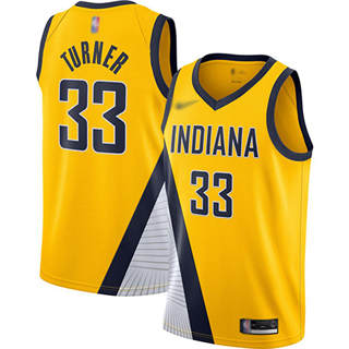 Men's Pacers #33 Myles Turner Gold Basketball Swingman Statement Edition 2019-2020 Jersey