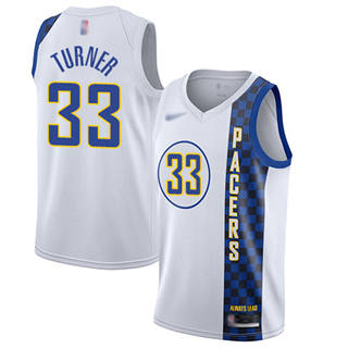 Men's Pacers #33 Myles Turner White Basketball Swingman City Edition 2019-2020 Jersey